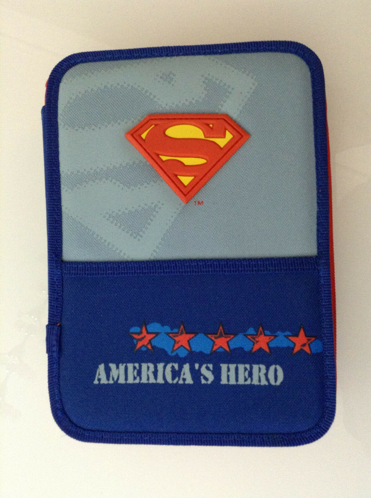 SUPERMAN EMBOSSED EMBOSSED EMBOSSED SHIELD SIGIL AMERICA'S HERO DOUBLE PENCIL BOX CASE FULL DC 123 154f81