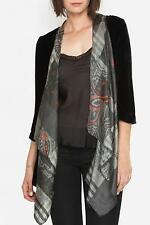 $269 JOHNNY WAS VELVET SILK SCARF DRAPED BLACK CARDIGAN JACKET SZ L NWT