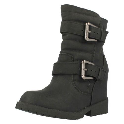 Damen Spot On Hidden Keilabsatz Stiefel Schnalle Braun Schwarz F50333 Größe