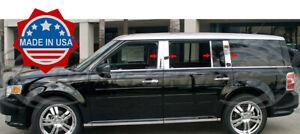 2009-2019-Ford-Flex-8Pc-Chrome-Pillar-Post-Trim-Stainless-Steel