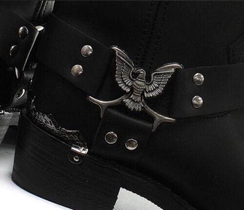 Grinders Herren Hohe Cowboy Schwarz Biker 100/% Leder Westernstiefel