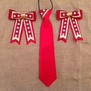 Childs-Equestrian-Showing-Set-Show-Tie-amp-Bows-DARK-RED-GOLD-amp-Stars-Lead-Rein