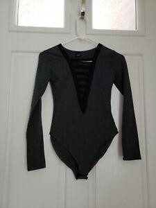 NEW! THE CLASSIC Sexy Long Sleeve BODYSUIT Gray SZ/M NWOT