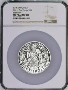 2021 P $5 Gods of Olympus: Poseidon 5 oz Silver NGC MS 70 Antiqued Mintage 50