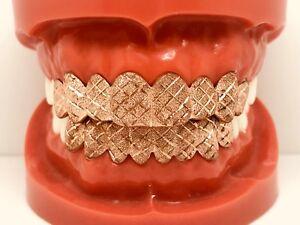 Sterling Silver W 18k Rose Gold Plated Diamond Cut Dust Cut Grill Grillz Ebay