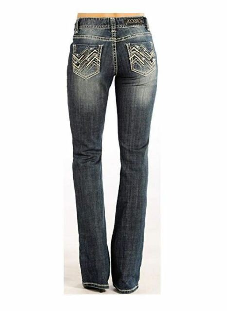 Rock /& Roll Cowgirl Womens and Low Cut Riding Jeans Boot Leg