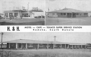 H-amp-H-EL-CENTRO-Texaco-Gas-Station-Kadoka-SD-Roadside-Motel-Cafe-1955-Postcard