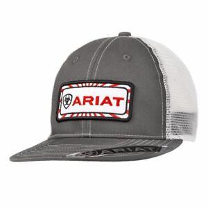 big sale 9e623 15243 Image is loading Ariat-Western-Mens-Hat-Baseball-Cap-Logo-Patch-
