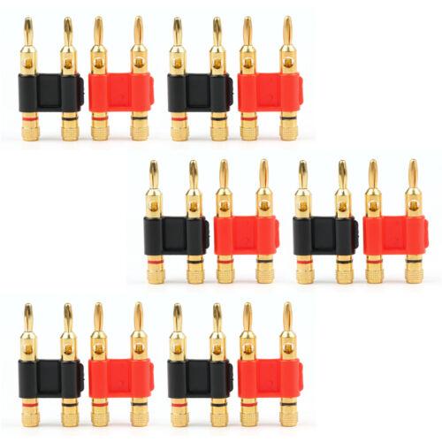 12Pcs Gold Connector - Stackable Double Banana Plug Speaker Loudspeaker Plug UE