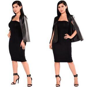 Fashion Women V Neck Long Puff Sleeve Short PU Jacket Outwear Clubwear Casual