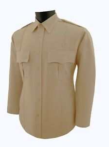 Security guard Police Tan polyester uniform shirt Long Sleeve unisex