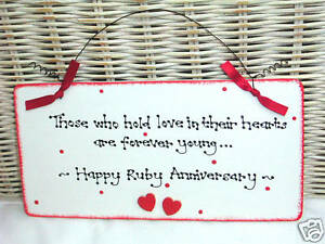 Image is loading RUBY-40th-WEDDING-ANNIVERSARY-Gift-Present-Sign-Plaque