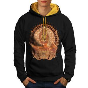 Jumper Mens Contrast Buddha Wellcoda gold Casual Hood Culture Head Black Religion Hoodie qW4wwgan