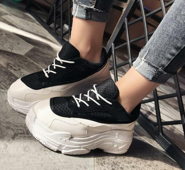 b4c6ad238887 Womens Mesh Breathable Round Toe Lace Up Flat Platform Muffin Sport Shoe  Sneaker
