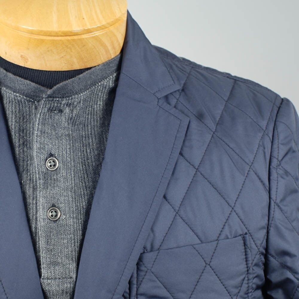 44R  SAVILE ROW 2 Button Navy bluee Quilted Sport Coat  44 Regular - S72