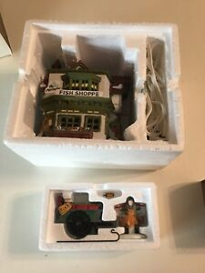 Dept-56-Mermaid-fish-shoppe-and-Chelsea-Fish-Monger-and-Cart