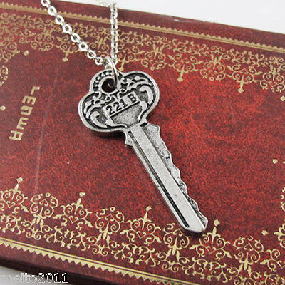 Anime Detective Sherlock Holmes The Key to 221B Silver Chain Vintage Necklace