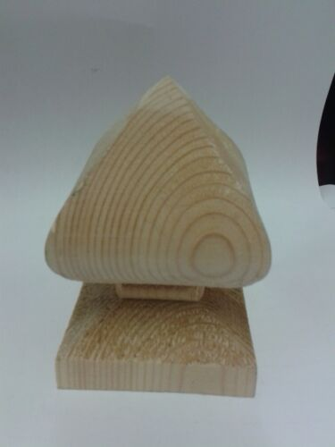 Wooden Bishop Finial for 3 garden fence post top decoration protection