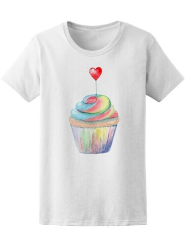 Watercolor Cupcake With Heart Women/'s Tee Image by Shutterstock
