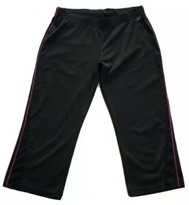REEBOK-Womens-Sz-Medium-Athletic-Capris-Pants-Black-Pink