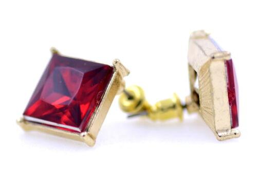 Estilo vintage grande cristal con color oro silueta pendientes de presión