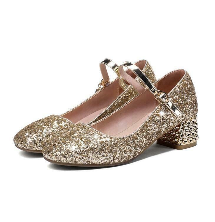 db182647f7 New Fashion Womens Pumps shoes Strap Buckle Sequins Glitter Block ...