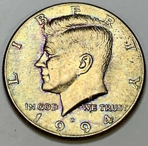 1994-D-KENNEDY-HALF-DOLLAR-WONDERFUL-GEM-UNC-COLOR-BU-PURPLE-GREEN-DR