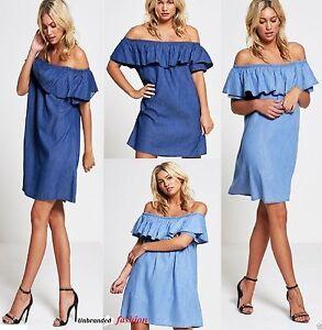 WOMENS-LADIES-DENIM-JEANS-BLUE-FRILL-OFF-SHOULDER-BARDOT-SUMMER-TUNIC-DRESS-8-18