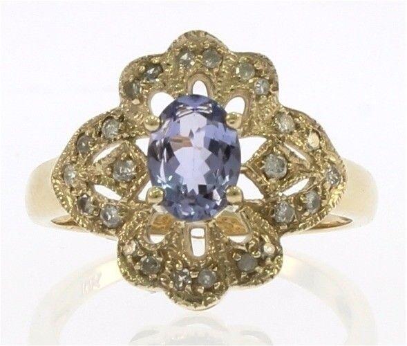 Genuine Tanzanite Diamond Ladies Ring in 10 kt Yellow gold