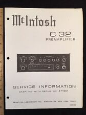 "McIntosh C32 Solid State Stereo Preamp Original "" SERVICE "" Manual"