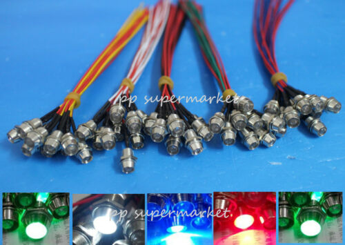 5mm 12v colorful pre-wired LED Metal Indicator Pilot Dash Light Lamp Wire Leads