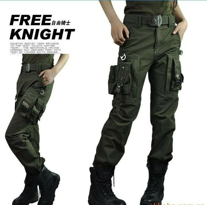 Womens Combat Camouflage Pants Cargo Military Camo Casual Long Outdoor Trous