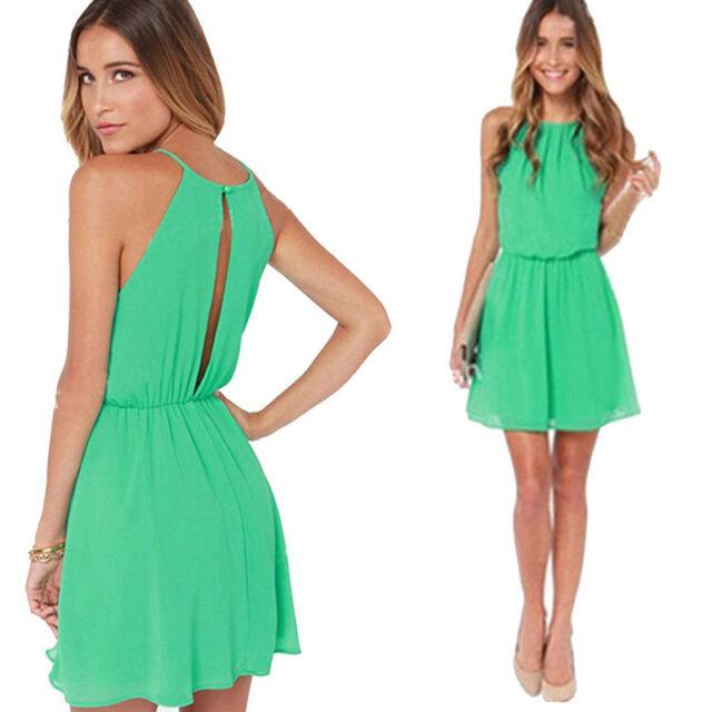 New Summer Sexy Women Sleeveless Party Dress Evening Cocktail Casual Mini Dress
