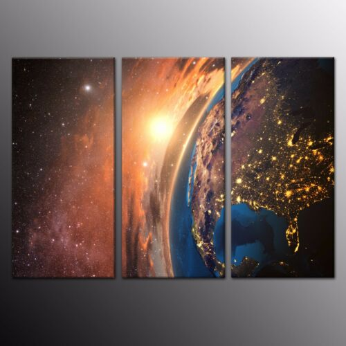 Giclee Canvas Print Painting Picture Wall Art Night Planet Earth Space Star 3pcs