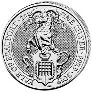 Queens Beasts Yale Of Beaufort 2019 2 Oz Once Argent Silver Grande-bretagne-afficher Le Titre D'origine Bwlhhmfr-07232047-907271261