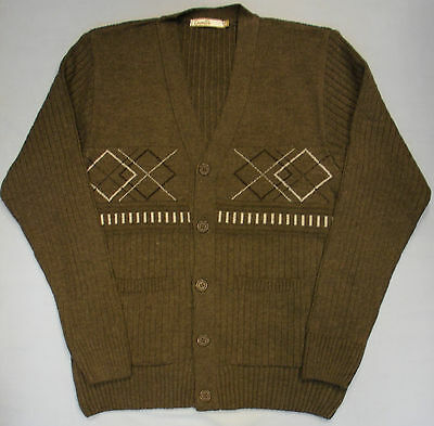 Adults Mens Button Through Cardigan Jacquard Style Design Jumper Knitted