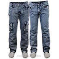 Mens Denim Jeans Combat Cargo G 72 Pants Straight Leg Bottom Trouser Casual New