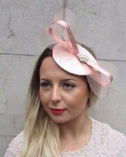 Rose Gold Silver Blush Light Pink Teardrop Fascinator Hair Clip Wedding Hat 2744