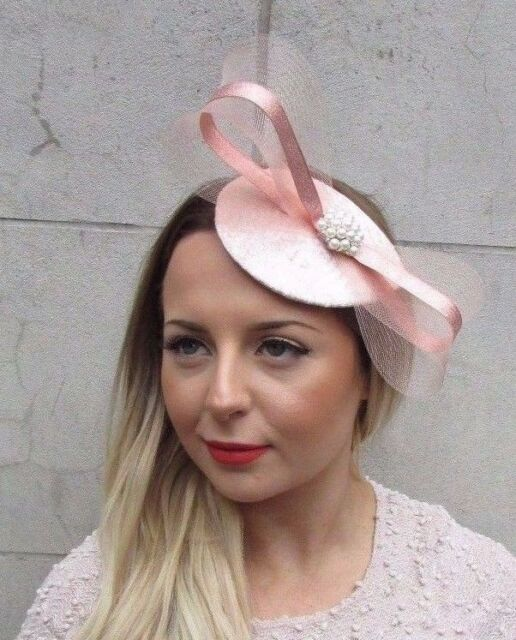 Rose Gold Silver Blush Light Pink Teardrop Fascinator Hair Clip Wedding Hat  2744 965bdefda89