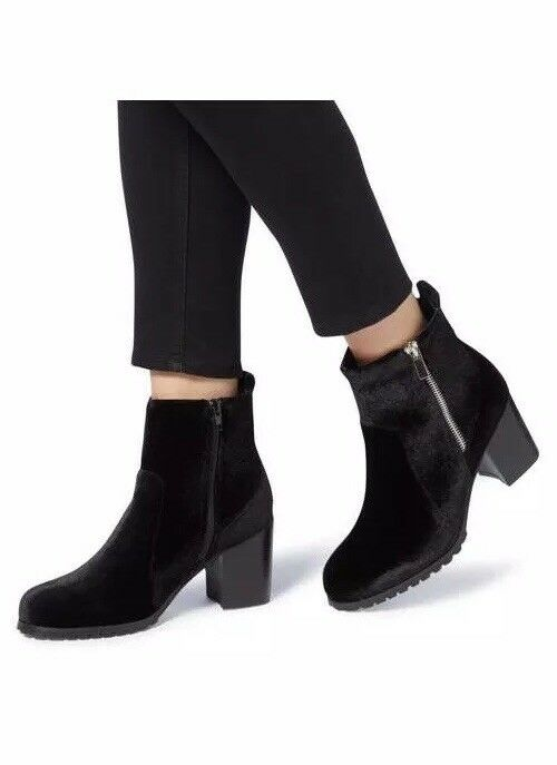 DUNE HEAD OVER HEELS Pippaa Cleated Velvet Ankle Boots New Size 7