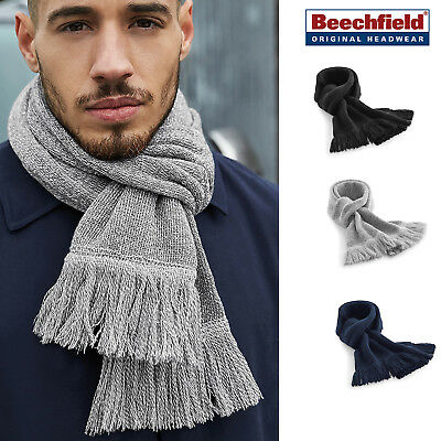 Beechfield Classic Knitted Scarf Luxury Unisex Warm Winter Accessory Tassel Trim