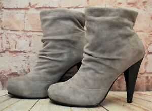 Womens Asos Grey Suede Pull On Very High Heel Ankle Boots Size UK 5