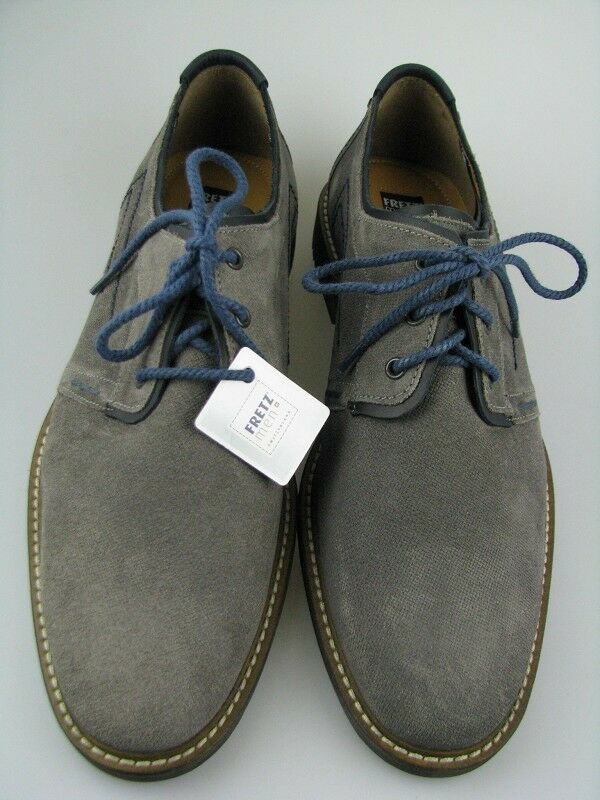 Fretz Men Herren Business-Schuh Leder Grau/Blau in Gr.10,5