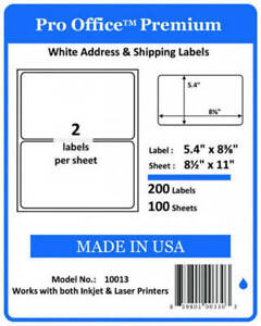 PO13 200 PRO OFFICE Premium Shipping Label Self Adhesive Round Corner HALF SHEET 859801003303