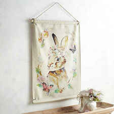 """New Pier 1 Imports Vintage Inspired Easter Bunny Spring Wall Hanging 24"""" x 33"""""""