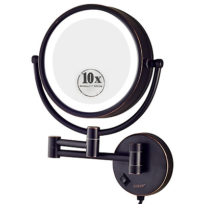 Gurun 8 5 Inch Led Lighted Wall Mount Makeup Mirror With