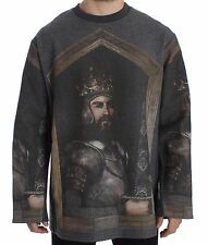 NWT $1800 DOLCE & GABBANA Gray King FEDERICO Oversize Sweater Pullover IT50 / L