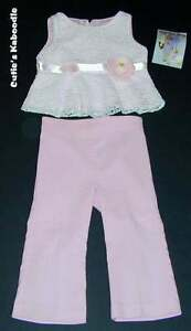 NEW-NWT-PLUM-PUDDING-Spring-Tickled-Pink-Lace-Top-amp-Pants-2pc-Set-3T