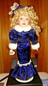 Vintage-Brass-Key-16-034-Porcelain-Doll-with-Metal-Stands-Violet-Dress