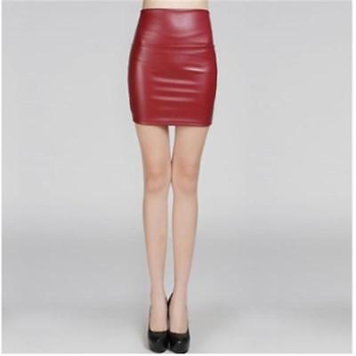Women Black/Red/Brown Faux Leather Elastic High Waist Bodycon Slim Mini Skirt Z